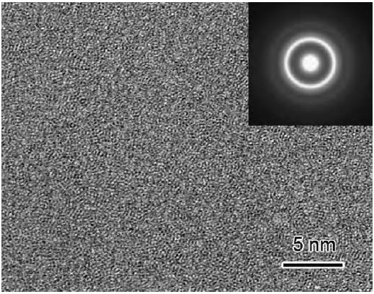 HRTEM and its electron diffraction pattern of an as-cast Zr70Al8Cu13.5Ni8.5 MG (metallic glass)
