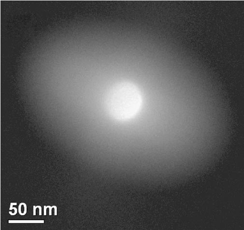 Caustic image taken from an amorphous carbon (C) film under an illumination condition with objective lens astigmatism