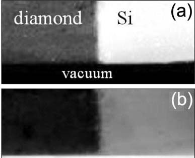 Bright- and dark-field STEM images of a diamond/Si interface