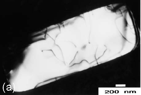 Dislocations in smal active areas: (a) Stressed-isolation wafer with 0% Ge