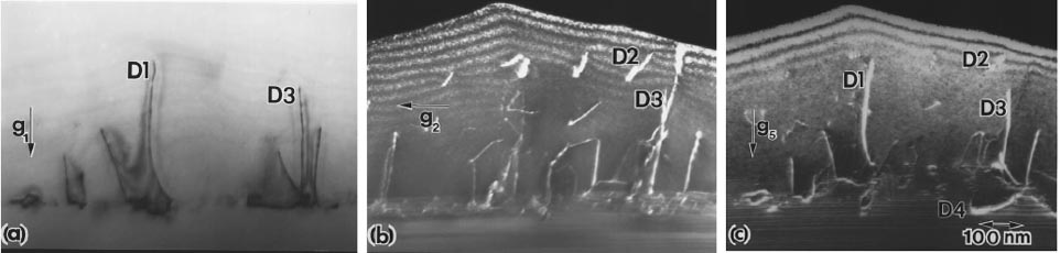 TEM images taken from the cross-section of a GaN homoepitaxial film showing a variety of dislocations