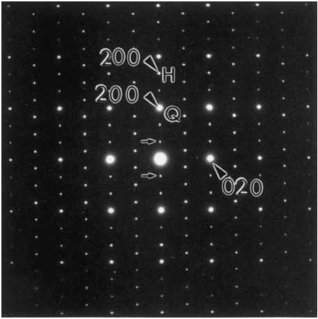Electron diffraction pattern from a crystal of LaCrS3 oriented along the [001] zone axis