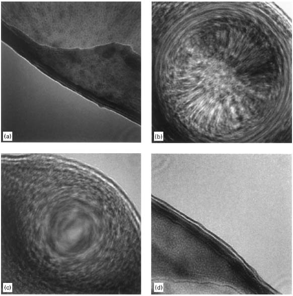 Ronchigrams of a thin amorphous carbon (C) film at: (a) Large underfocus, (b) Small underfocus, (c) Gaussian focus, and (d) Overfocus.