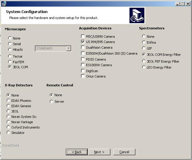 an example of system configuration in the installation setup page