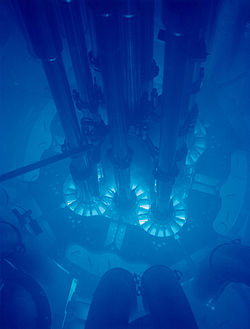 Cherenkov radiation glowing in the core of the Advanced Test Reactor at the Idaho National Laboratory.