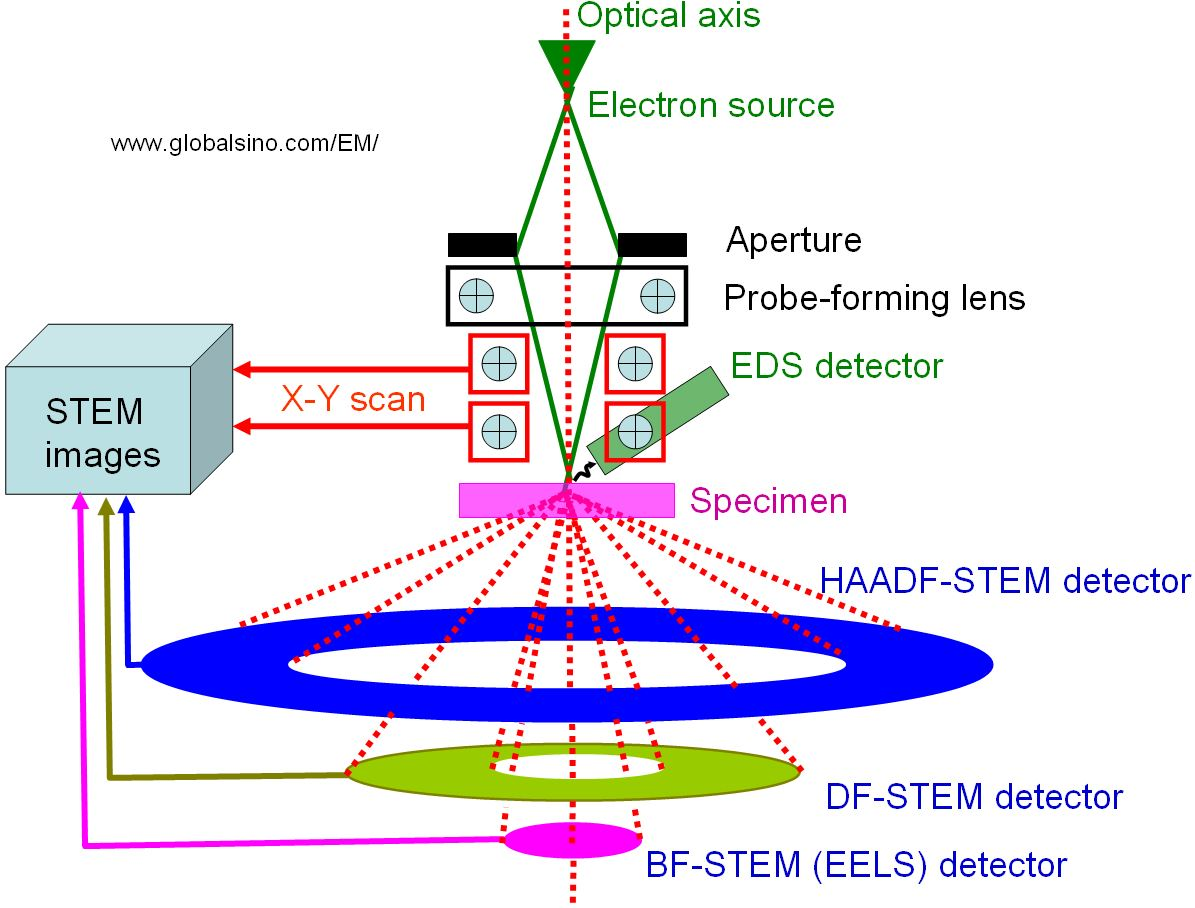 The positions of detectors in STEMs