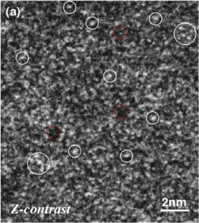 (a) HAADF-STEM image and (b) HRTEM image of an Al87Ni7Cu3Ce3 amorphous alloy